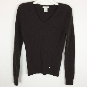 Tweeds Sweater Small Brown 100% Cashmere Cable